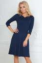 Повседневное платье с расклешённой юбкой темно-синего цвета No0|интернет-магазин vvlen.com
