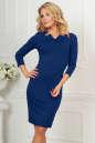 Офисное платье темно-синего цвета|интернет-магазин vvlen.com