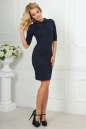 Офисное платье темно-синего цвета 1841-1.47 No1|интернет-магазин vvlen.com
