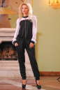 Женский комбинезон брючный черного с белым цвета 2399.41 No0|интернет-магазин vvlen.com