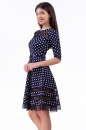 Коктейльное платье с расклешённой юбкой синего в горох цвета 1487.45d5 No0|интернет-магазин vvlen.com