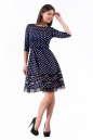 Коктейльное платье с расклешённой юбкой синего в горох цвета 1487.45d5 No2|интернет-магазин vvlen.com