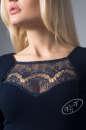 Коктейльное платье футляр синего в горох цвета 1857.47 No3|интернет-магазин vvlen.com