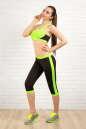 Бриджи для фитнеса черного с зеленым цвета 2313.67 No3|интернет-магазин vvlen.com