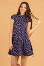 Повседневное платье рубашка синего в горох цвета|интернет-магазин vvlen.com