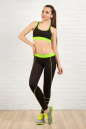 Лосины для фитнеса черного с зеленым цвета No3|интернет-магазин vvlen.com