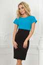 Офисное платье футляр черного с бирюзой цвета 1700-1.47 No0|интернет-магазин vvlen.com