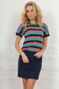 Повседневное платье футляр темно-синего с коралловым цвета No0|интернет-магазин vvlen.com