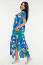 Летнее платье  мешок синего с зеленым цвета it 100 No1|интернет-магазин vvlen.com