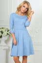 Повседневное платье с расклешённой юбкой серо-голубого цвета|интернет-магазин vvlen.com
