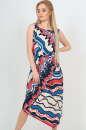 Летнее платье оверсайз синего с красным цвета No0|интернет-магазин vvlen.com