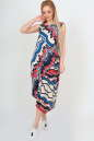 Летнее платье оверсайз синего с красным цвета No1|интернет-магазин vvlen.com