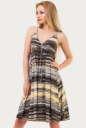 Летнее платье с расклешённой юбкой коричнево-желтого тона цвета 1337.17|интернет-магазин vvlen.com