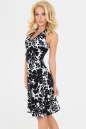 Летнее платье с расклешённой юбкой черного с белым цвета 447 No0|интернет-магазин vvlen.com