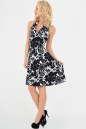 Летнее платье с расклешённой юбкой черного с белым цвета 447 No2|интернет-магазин vvlen.com