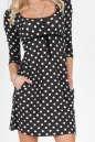 Повседневное платье трапеция черного с белым цвета No1 интернет-магазин vvlen.com