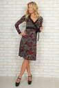 Повседневное платье с юбкой на запах бордового c черным цвета No1|интернет-магазин vvlen.com