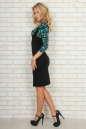 Офисное платье футляр черного с зеленым цвета No2|интернет-магазин vvlen.com