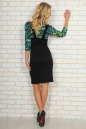 Офисное платье футляр черного с зеленым цвета No3|интернет-магазин vvlen.com