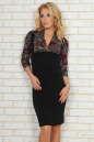 Офисное платье футляр черного с бордовым цвета 454.2|интернет-магазин vvlen.com