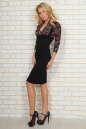 Офисное платье футляр черного с бордовым цвета No2|интернет-магазин vvlen.com
