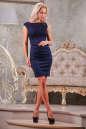 Коктейльное платье футляр синего цвета No1|интернет-магазин vvlen.com
