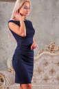 Коктейльное платье футляр синего цвета No2|интернет-магазин vvlen.com