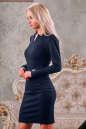 Офисное платье футляр синего цвета No1|интернет-магазин vvlen.com