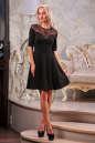 Коктейльное платье с расклешённой юбкой черного цвета 1666.47 No1|интернет-магазин vvlen.com