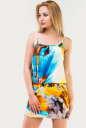 Летнее платье футляр желтого с голубым цвета No0|интернет-магазин vvlen.com