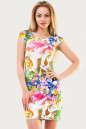 Летнее платье футляр зеленого с розовым цвета No0|интернет-магазин vvlen.com
