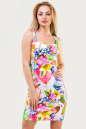 Летнее платье футляр белого с малиновым цвета 1559.33 No0|интернет-магазин vvlen.com