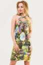 Летнее платье с открытыми плечами зеленого тона цвета 1562.33 No0|интернет-магазин vvlen.com