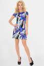Летнее платье трапеция сиреневого с голубым цвета 1080 No1|интернет-магазин vvlen.com