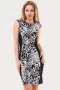 Летнее платье футляр черного с белым цвета 1082.17 No0 интернет-магазин vvlen.com