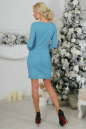 Коктейльное платье футляр бирюзового цвета 2218.12 No3|интернет-магазин vvlen.com