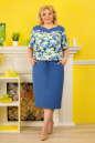 Летнее платье футляр голубого с белым цвета 2327.83 No0|интернет-магазин vvlen.com