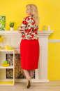 Летнее платье футляр красного с белым цвета 2327.83 No2|интернет-магазин vvlen.com