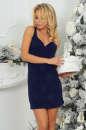 Коктейльное платье футляр темно-синего цвета 375.5 No1|интернет-магазин vvlen.com
