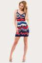 Летнее платье-комбинация синего с красным цвета No1|интернет-магазин vvlen.com