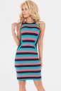 Летнее платье футляр синего с коралловым цвета No0|интернет-магазин vvlen.com