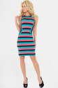 Летнее платье футляр синего с коралловым цвета No1|интернет-магазин vvlen.com