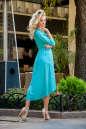 Коктейльное платье с расклешённой юбкой бирюзового цвета 2380.86 No2|интернет-магазин vvlen.com