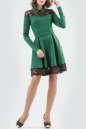 Повседневное платье с расклешённой юбкой зеленого с черным цвета No0|интернет-магазин vvlen.com