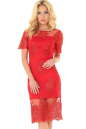 Коктейльное платье футляр красного цвета 2538.10|интернет-магазин vvlen.com