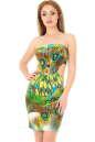 Летнее платье с открытыми плечами зеленого тона цвета 845.33 No3|интернет-магазин vvlen.com