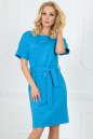 Повседневное платье футляр голубого с белым цвета 2510.47|интернет-магазин vvlen.com