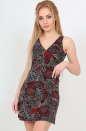 Летнее платье трапеция бордового c черным цвета 433.17 No0|интернет-магазин vvlen.com
