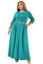 Платье с расклешённой юбкой бирюзового цвета 2299.41 |интернет-магазин vvlen.com