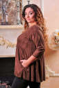Туника оверсайз коричневого цвета 2451.86 No2|интернет-магазин vvlen.com